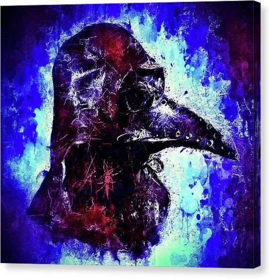 Canvas Print featuring the mixed media Plague Mask 3 by Al Matra