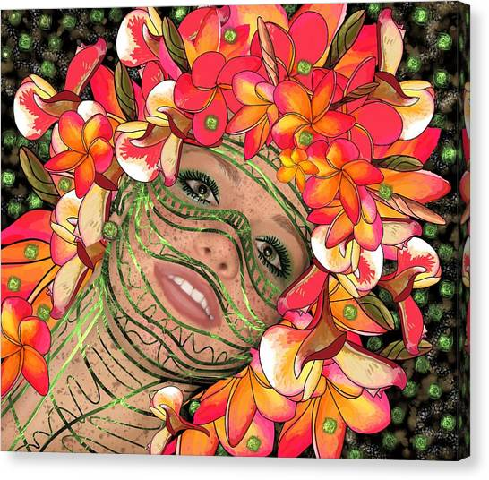 Mask Freckles And Flowers Canvas Print