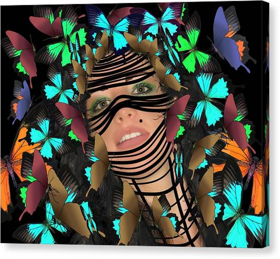 Mask Of Butterflies And Bondage Canvas Print