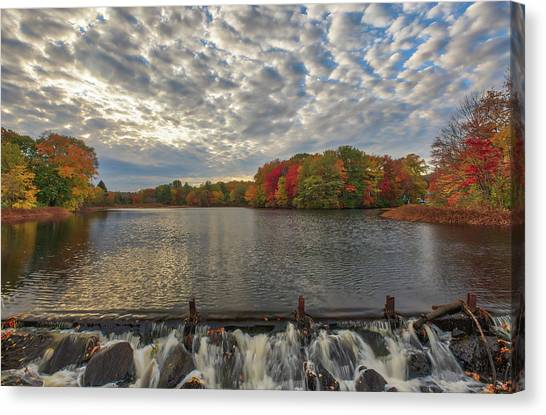 Canvas Print featuring the photograph Massachusetts Fall Foliage At Mill Pond by Juergen Roth