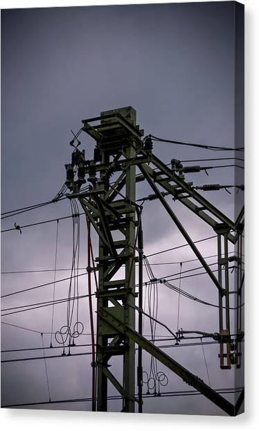 Canvas Print featuring the photograph Mast Overhead Line Rail. by Anjo Ten Kate