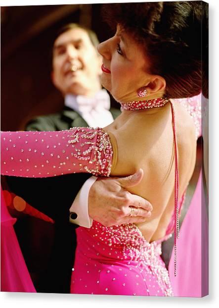Mature Couple Ballroom Dancing, Close-up Canvas Print by David Woolley