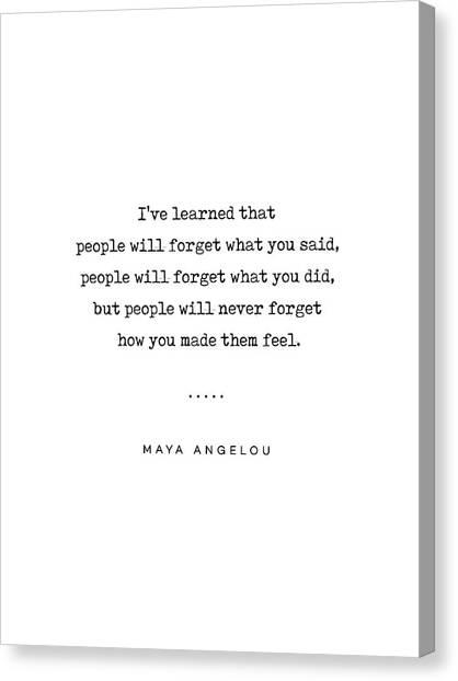 Simple Canvas Print - Maya Angelou Quote 01 - Typewriter Quote - Minimal, Modern, Classy, Sophisticated Art Prints by Studio Grafiikka