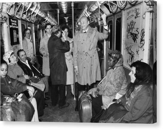 Mayor Ed Koch Rides The Subway Canvas Print by New York Daily News Archive