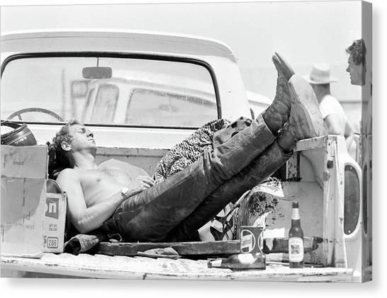 Mojave Desert Canvas Print - Mcqueen Asleep In Pickup by John Dominis