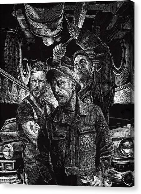 Canvas Print featuring the drawing Mechanics by Clint Hansen