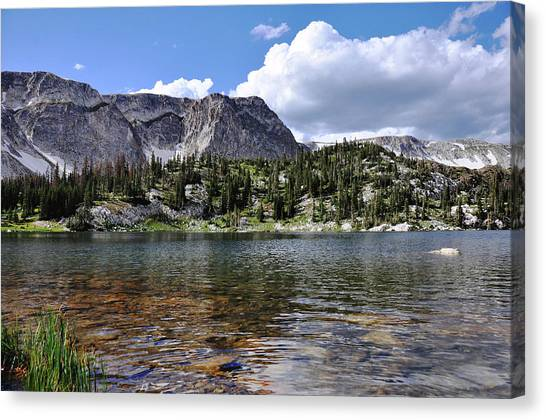 Canvas Print featuring the photograph Medicine Bow Peak And Mirror Lake by Chance Kafka