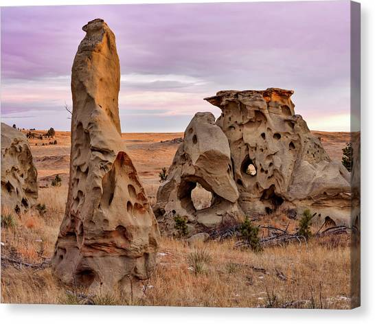 Medicine Rocks Sandstone Canvas Print by Leland D Howard