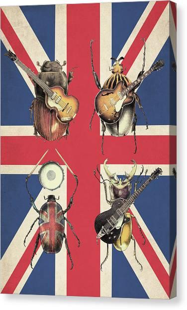 Beetles Canvas Print - Meet The Beetles - Union Jack by Eric Fan
