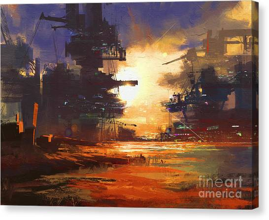 Acrylic Canvas Print - Mega Structure In Sci-fi City At by Tithi Luadthong
