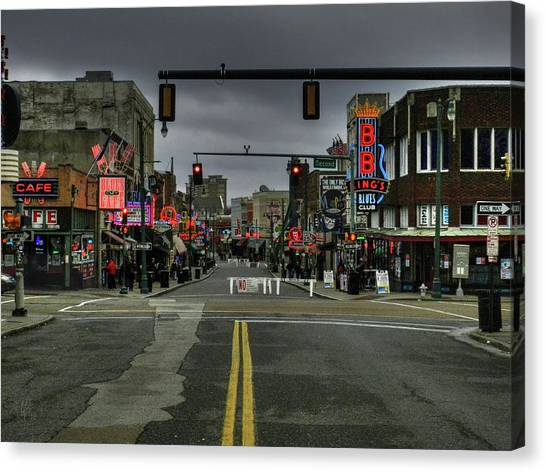 Canvas Print featuring the photograph Memphis - Beale Street 001 by Lance Vaughn