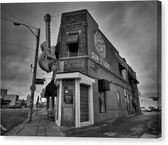 Canvas Print featuring the photograph Memphis - Sun Studio 004 Bw by Lance Vaughn