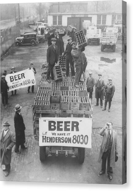 Men Atop Beer Delivery Truck W. Sign Re Canvas Print by Time Life Pictures
