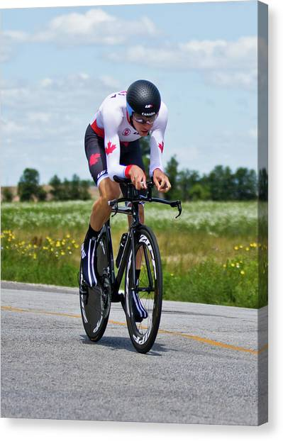 Canvas Print featuring the photograph Mens Individual Time Trial No 1 by Brian Carson