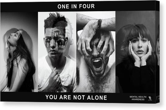 Canvas Print featuring the digital art Mental Health Awareness - You Are Not Alone by ISAW Company