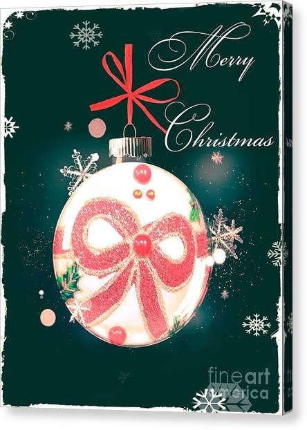 Canvas Print featuring the photograph Merry Christmas Ribbon Ornament by Rachel Hannah
