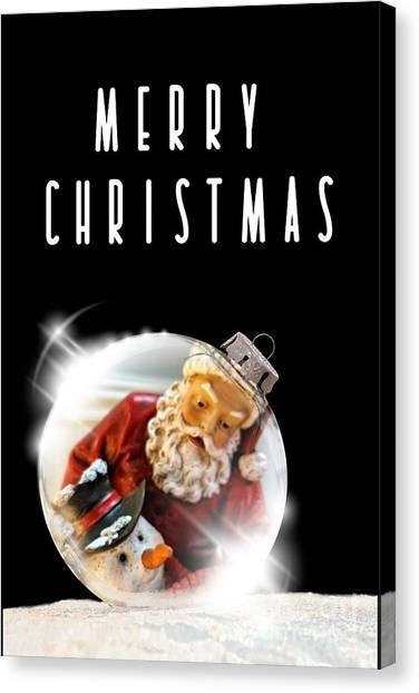 Canvas Print featuring the mixed media Merry Christmas Santa And Snow by Rachel Hannah