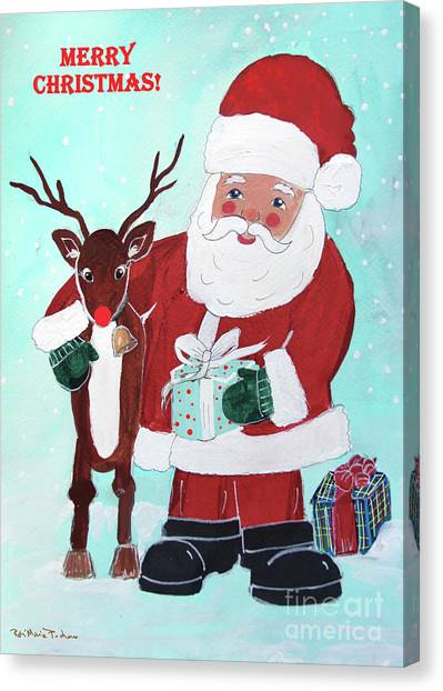 Canvas Print featuring the painting Merry Christmas Santa Reindeer by Robin Maria Pedrero