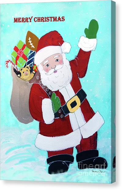 Canvas Print featuring the painting Merry Christmas Santa With Toy Sack by Robin Maria Pedrero
