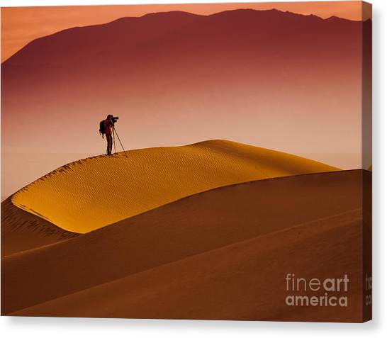 Death Valley Canvas Print - Mesquite Flat Dunes At Death Vakkey by Gleb Tarro