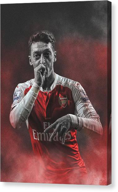 Arsenal Fc Canvas Print - Mesut Ozil by Miranti Angel