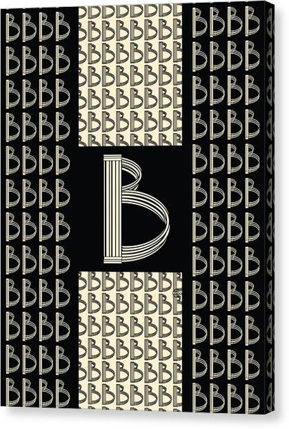 Metropolitan Park Deco 1920s Monogram Letter Initial B Canvas Print