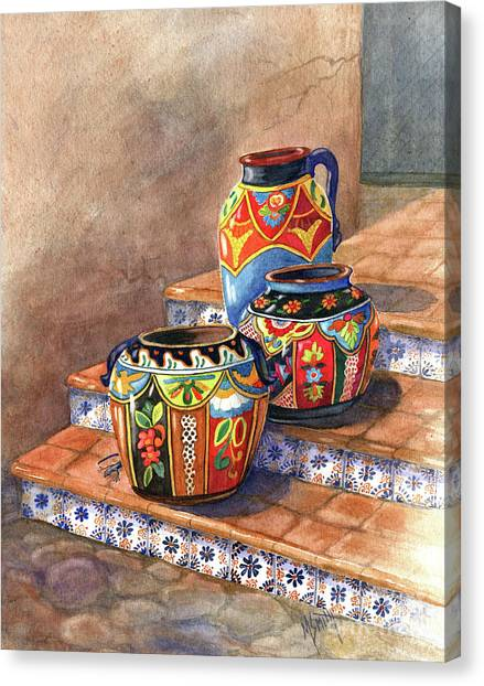 Clay Canvas Print - Mexican Pottery Still Life by Marilyn Smith