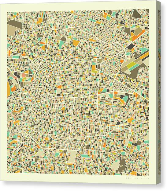 Mexican Canvas Print - Mexico City Map 1 by Jazzberry Blue