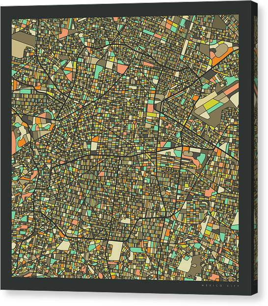 Mexican Canvas Print - Mexico City Map 2 by Jazzberry Blue