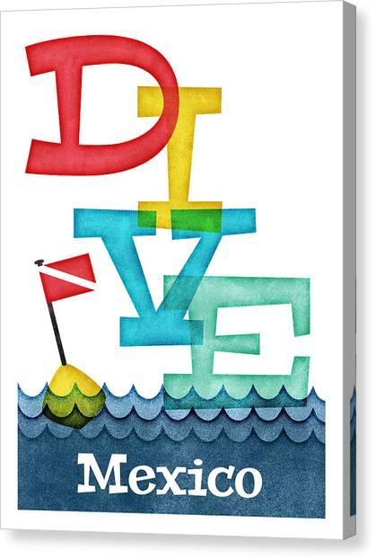 Scuba Diving Canvas Print - Mexico Dive - Colorful Scuba by Flo Karp