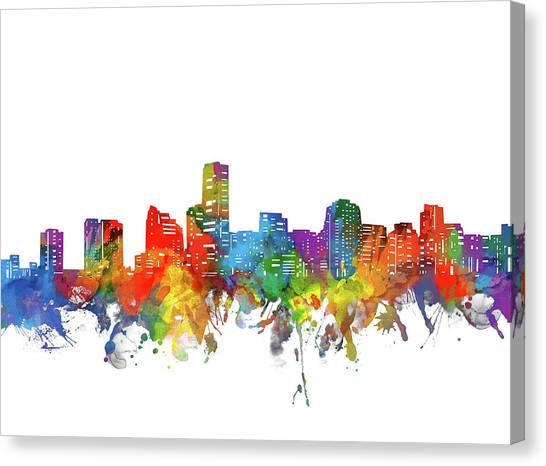 Miami Skyline Canvas Print - Miami City Skyline Watercolor by Bekim Art
