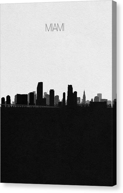 Miami Skyline Canvas Print - Miami Cityscape Art by Inspirowl Design