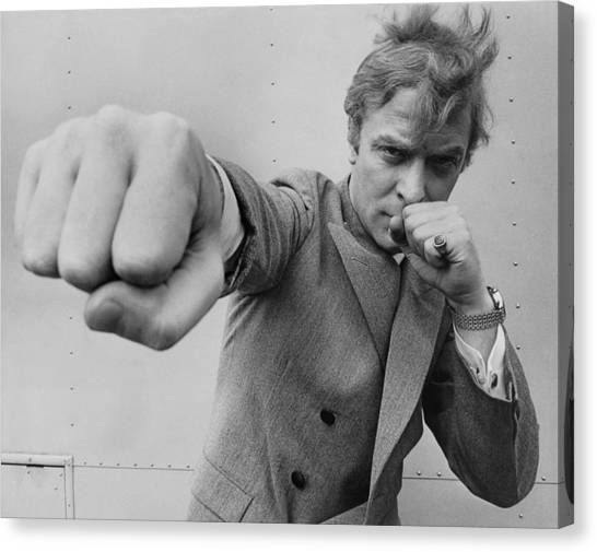Michael Caine Throwing A Punch Canvas Print