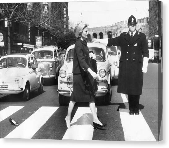 Michele Morgan Crossing A Street In Canvas Print by Keystone-france
