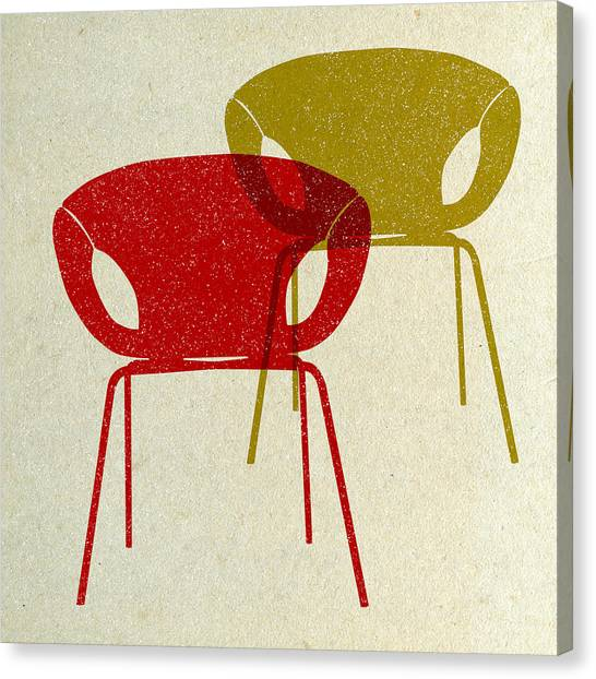 Tasteful Canvas Print - Mid Century Chairs Design II by Naxart Studio