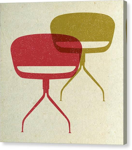 Tasteful Canvas Print - Mid Century Chairs I by Naxart Studio