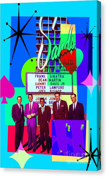 Mid Century Modern Abstract The Rat Pack Frank Sinatra Dean Martin And Sammy Davis Jr 20190120 P160 Canvas Print by Wingsdomain Art and Photography