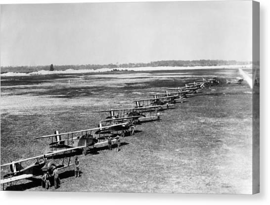 Biplane Canvas Print - Military Biplanes - Marine Flying Field - 1918 by War Is Hell Store