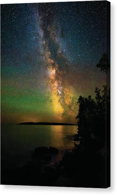 Canvas Print featuring the photograph Milky Way And Northern Lights Over Isle Royale by Owen Weber