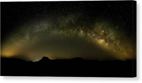 Milky Way Arch Panorama Over Tianping Mountain And Ridge-line Canvas Print