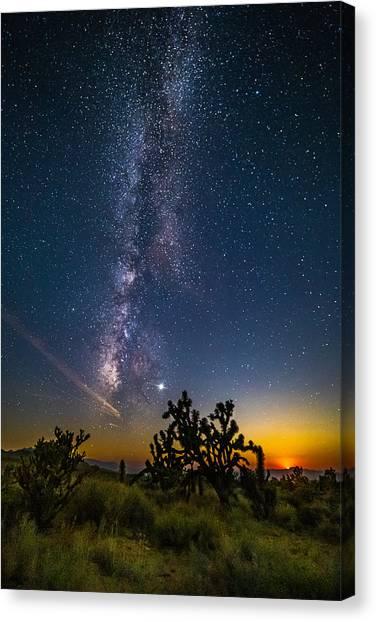 Milky Way Moonset Canvas Print by Matt Deifer