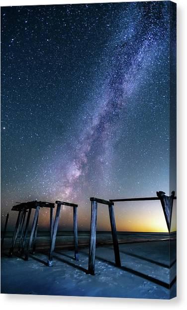 Milky Way Over Gulf Pier Canvas Print