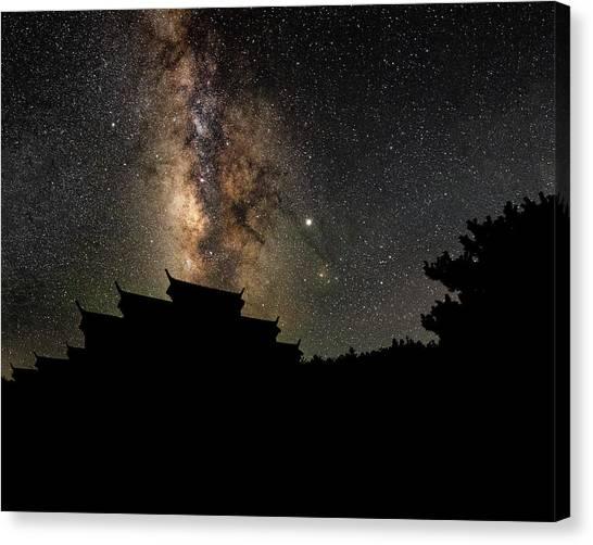 Milky Way Over The Dark Temple Canvas Print