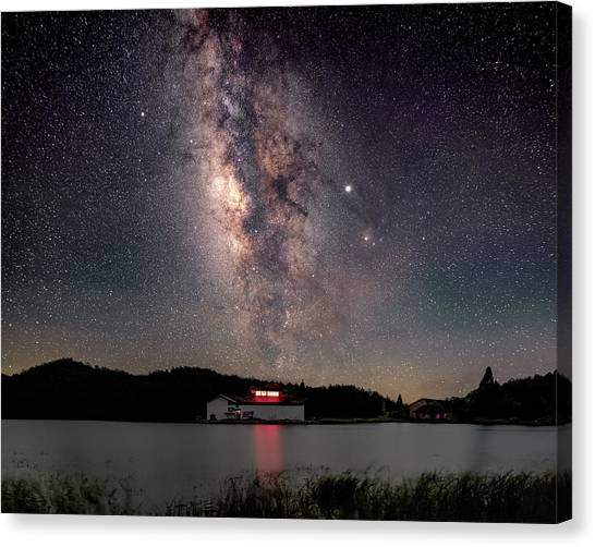 Milky Way Over The Tianping Mountain Lake Temple Canvas Print