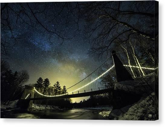 Milky Way Over The Wire Bridge Canvas Print