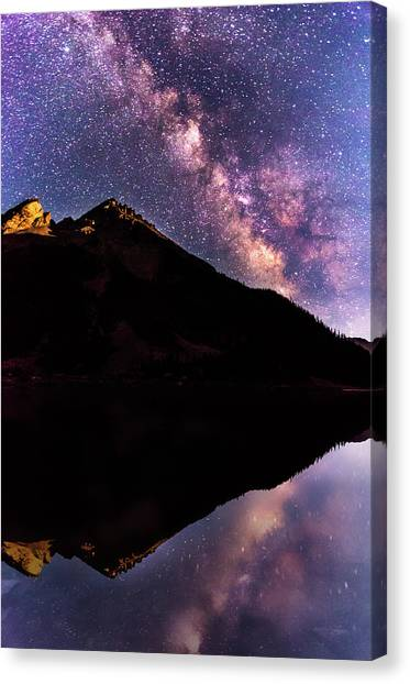 Milky Way Reflected In Crater Lake Canvas Print