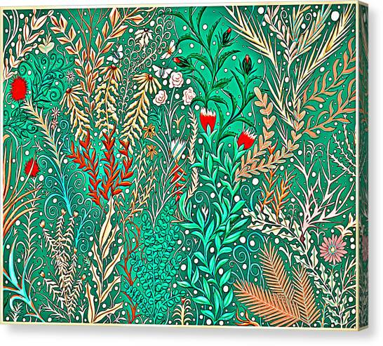 Millefleurs Home Decor Design In Brilliant Green And Light Oranges With Leaves And Flowers Canvas Print