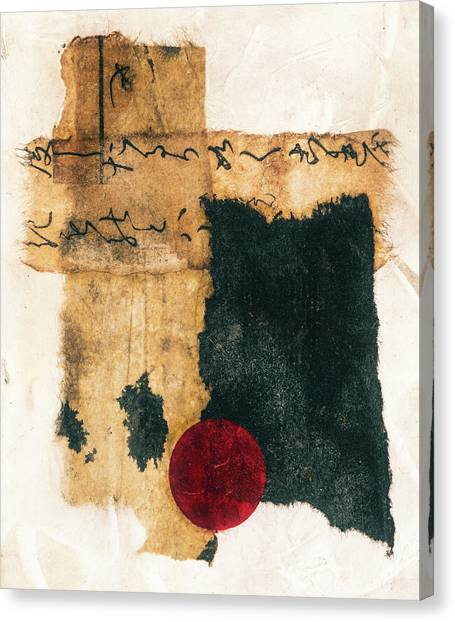 Simple Canvas Print - Mini Collage On Plaster by Carol Leigh