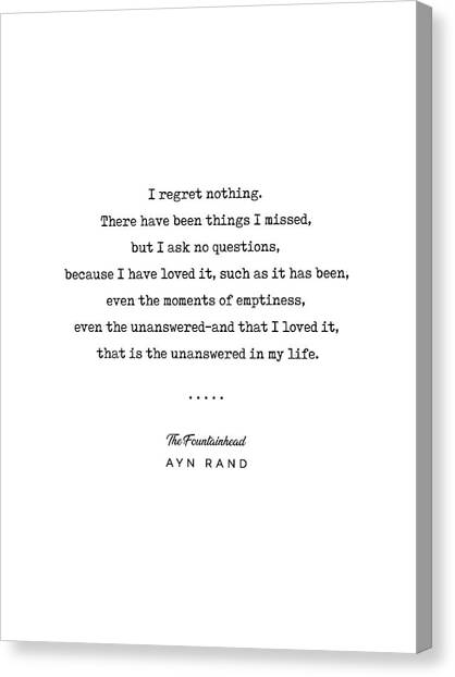 Simple Canvas Print - Minimal Ayn Rand Quote 03- The Fountainhead - Modern, Classy, Sophisticated Art Prints For Interiors by Studio Grafiikka