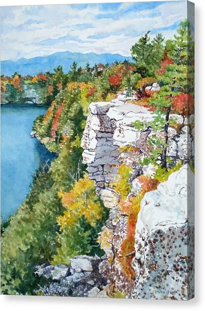 Minnewaska Fall Cliff Canvas Print by Mira Fink